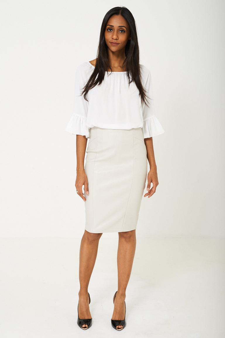 BIK BOK Faux Leather Pencil Skirt in Grey, Skirts - First Impression UK
