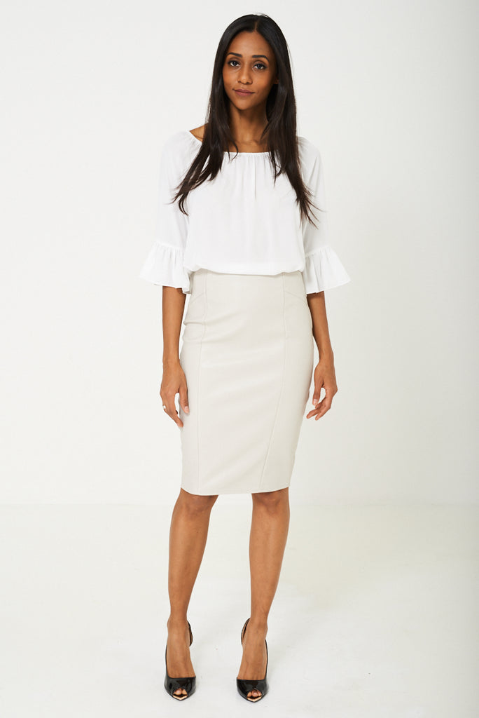 BIK BOK Faux Leather Pencil Skirt in Grey - First Impression UK