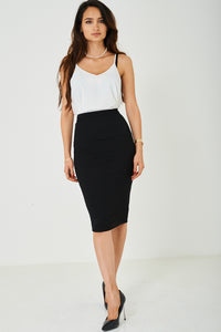 Black Bandage Pencil Midi Skirt, Skirts - First Impression UK