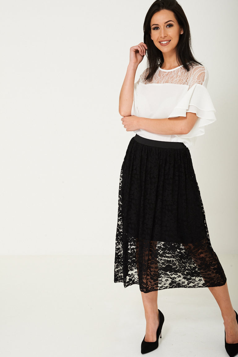 Ladies Lace Midi Skirt in Black Ex Brand