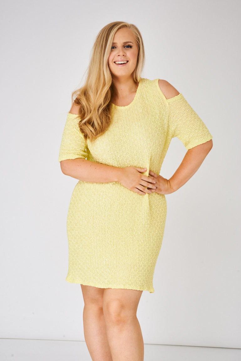 Yellow Cold Shoulder Textured Dress - First Impression UK