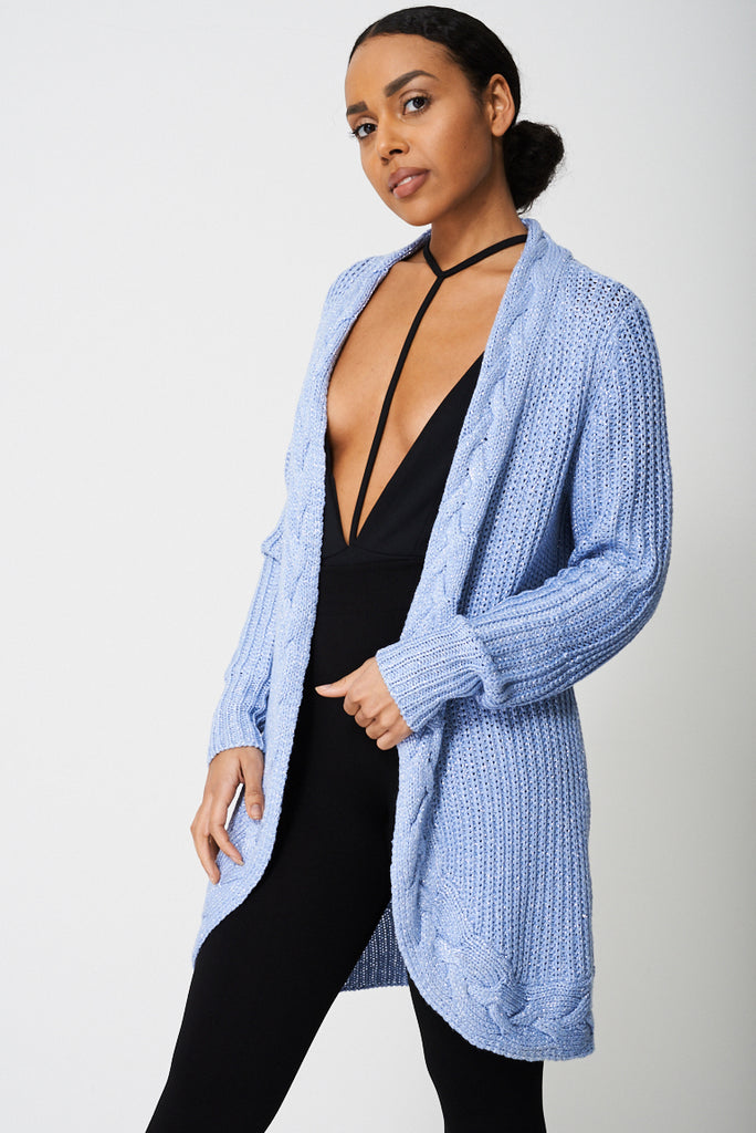 Cable Knit Cardigan With Glitter