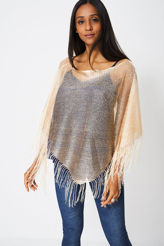 Fringe Glittery Pullover Scarf