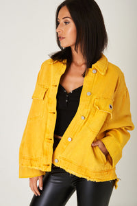 Ladies Oversized Jacket with Distress Detail in Light Yellow Ex Brand