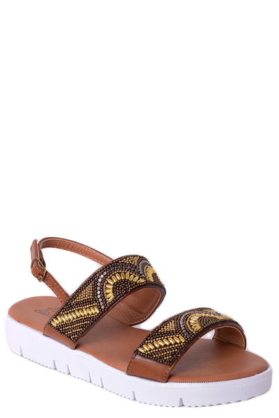 Beaded Sandals in Brown - First Impression UK