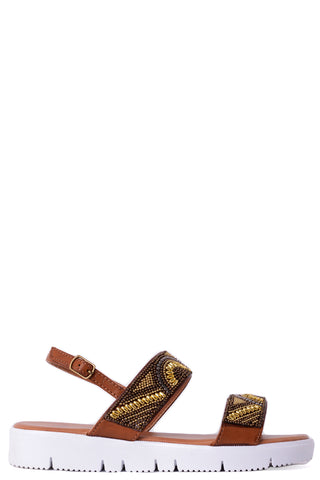 Beaded Sandals in Brown