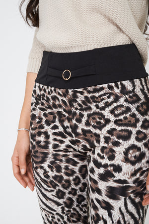 Ladies Leopard Print Fleece Legging