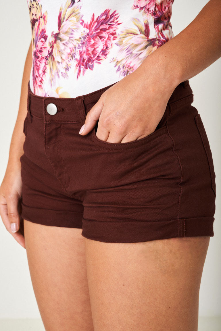 Denim Shorts in Burgundy Ex Brand