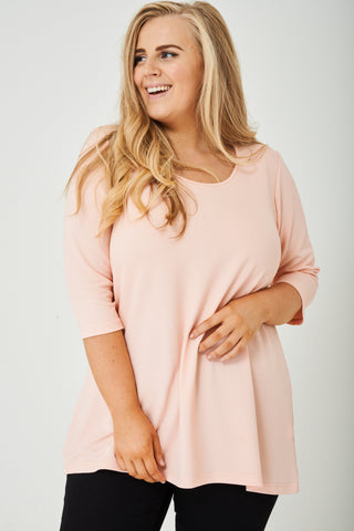 PLUS SIZE Longline Top in Light Pink