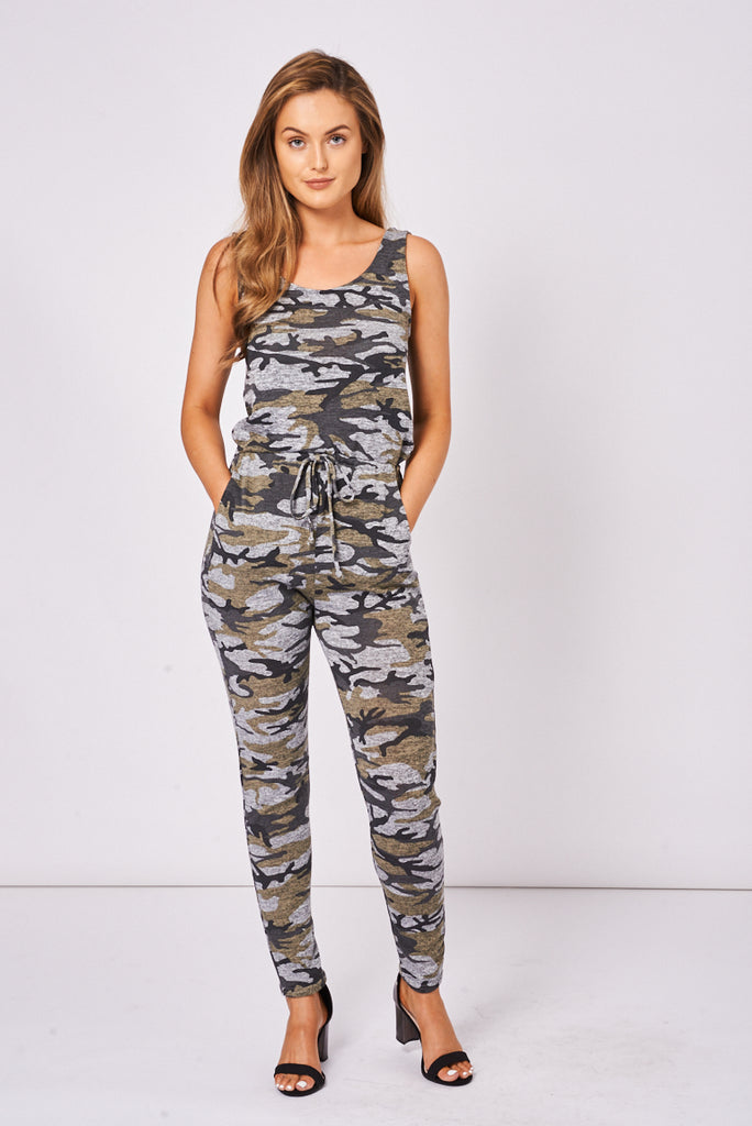 Camouflage Print Skinny Jumpsuit Ex-Branded - First Impression UK