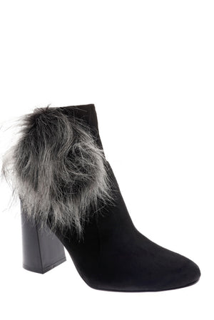 Black Faux Suede Ankle Boots With Pom Pom Detail, High Heels - First Impression UK