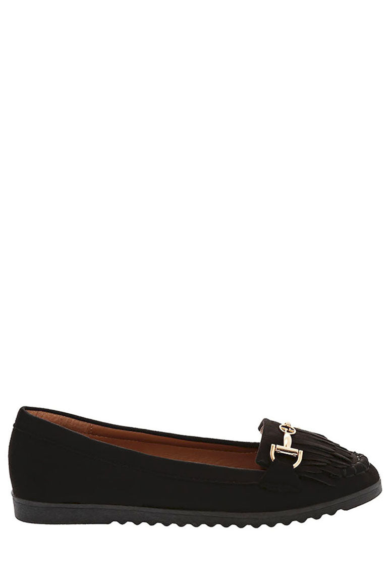 Ladies Tassel Flat Shoe in Black