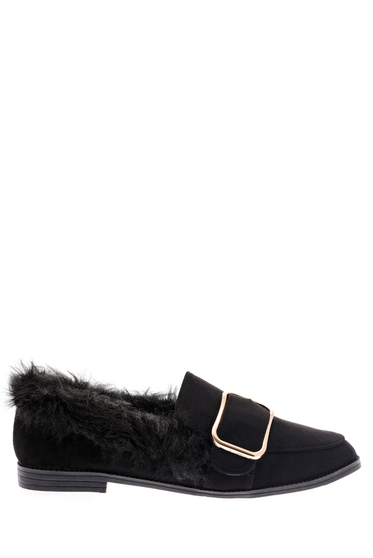 Black Fluffy Flat Shoe with Front Buckle Detail, Flats - First Impression UK