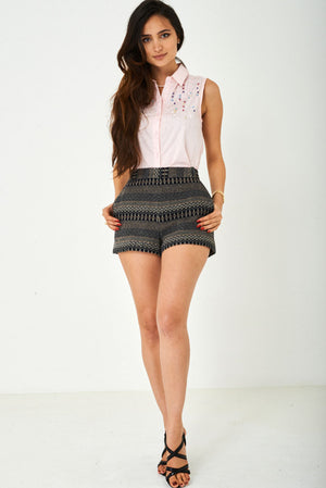Aztec Print Tweed Shorts Ex Brand, Shorts - First Impression UK