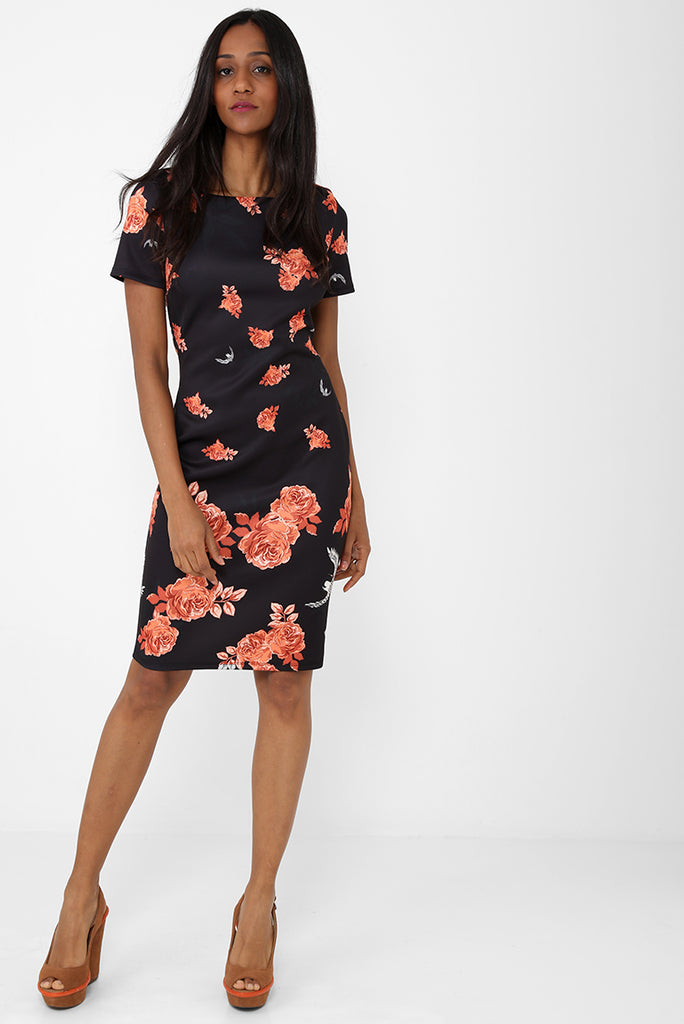 Black Pencil Dress in Floral Print Ex Brand, Dresses - First Impression UK