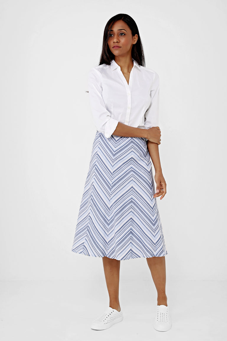 Midi Skirt in Stripe Ex Brand