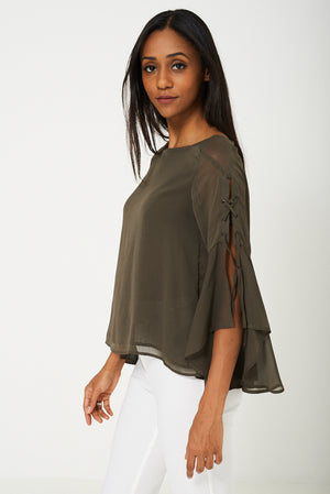 Ladies Chiffon Blouse in Khaki Ex Brand