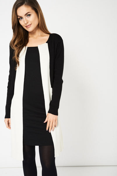 Black And Cream Overlay Cardigan Ex-Branded - First Impression UK