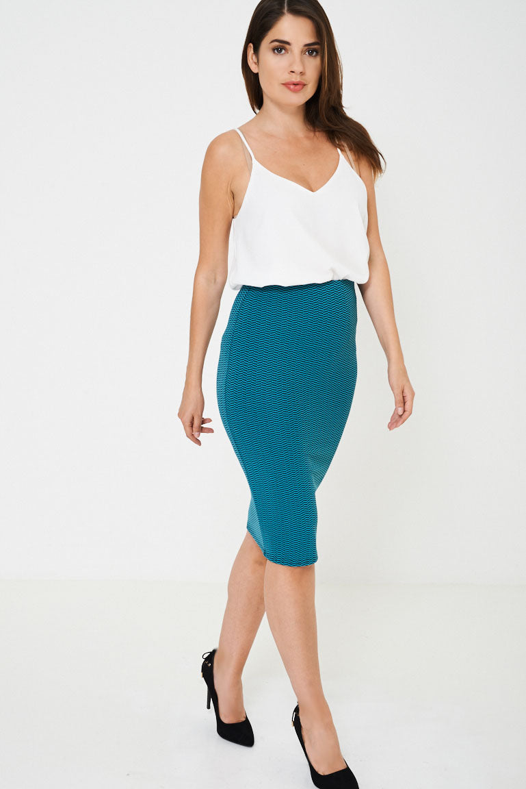 Ladies Pencil Skirt in Textured Finish