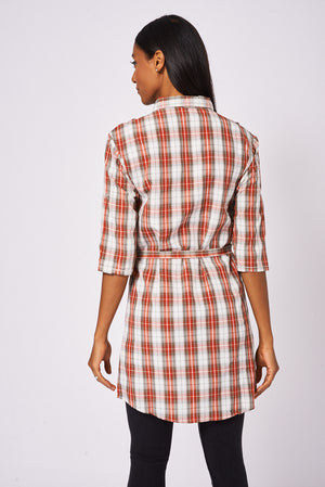 Ladies Red Tiewaist Check Shirt Dress