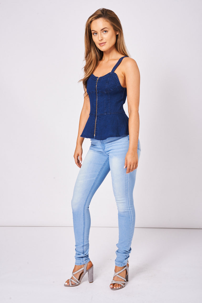 BIK BOK Tall Mid Rise Skinny Leg Jeans In Blue, Jeans & Trousers - First Impression UK