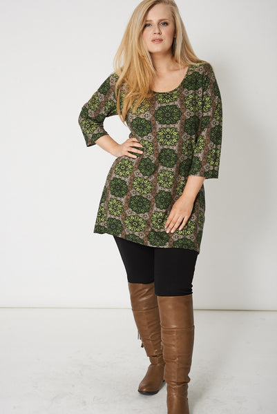 Bow Back Green Abstract Print Top, Tops - First Impression UK
