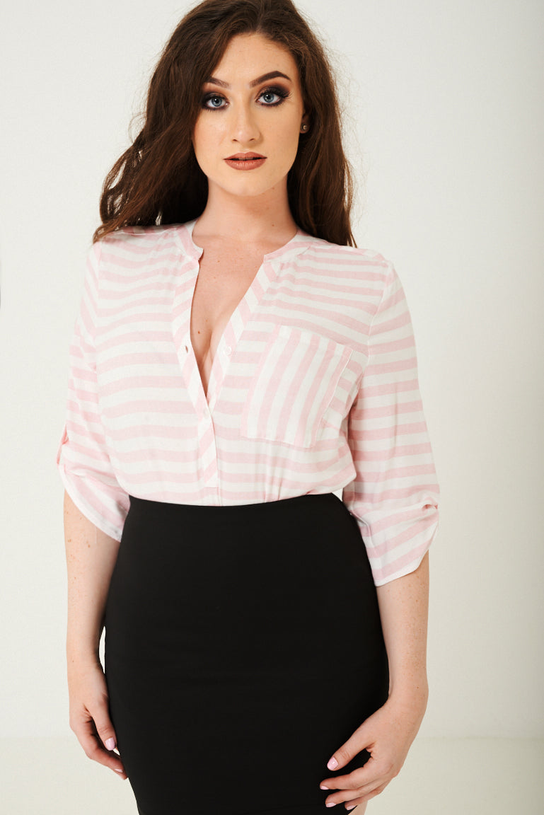 Ladies Shirt in Pink Stripes Ex Brand