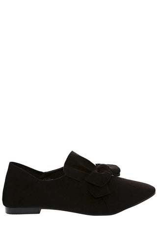 Faux Suede Bow Flat Shoe in Black - First Impression UK