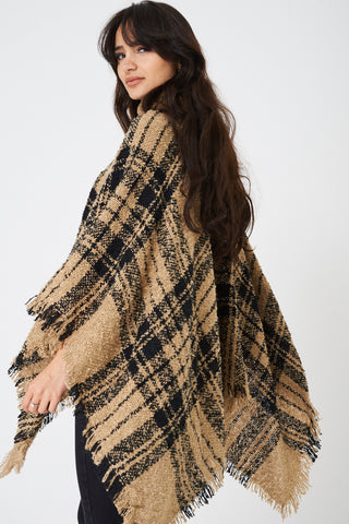 Chunky Knit Checked Poncho