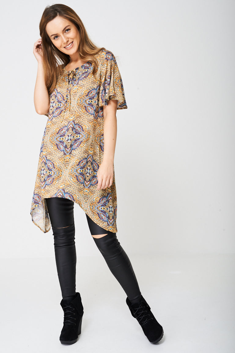 Printed Tunic Top with Moon Hemline