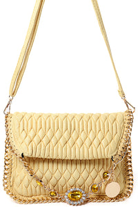 Ladies Embellished Quilted Shoulder Bag in Yellow
