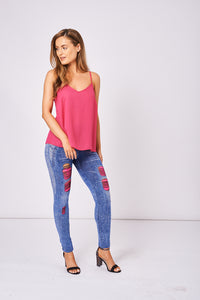 Blue Jeggings with Neon Pink Lace Insert, Leggings & Jeggings - First Impression UK