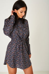 Ladies Floral Print Shirt Dress in Black