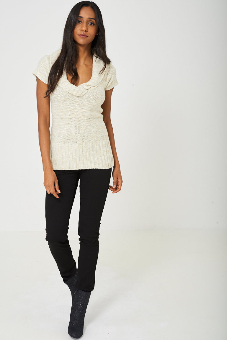 Ladies Chunky Knit Top in Beige