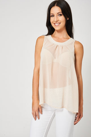 Beige Tie Back Top Available In Plus Sizes - First Impression UK