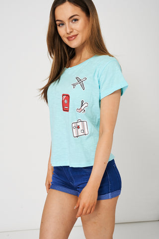 Side Tie Up Blue T-Shirt With Front Print