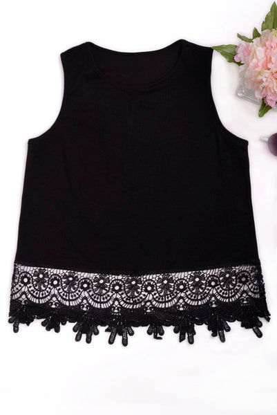 Black Top with Lace Hem Ex Brand - First Impression UK