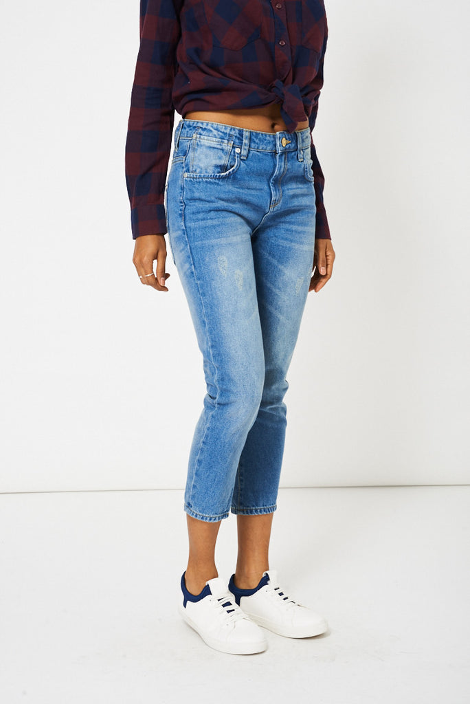 Blue Distressed Boyfriend Style Jeans Ex-Branded - First Impression UK