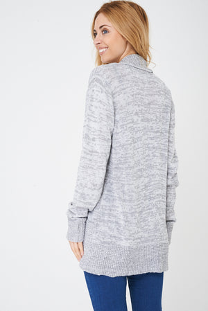 Ladies Grey Open Front Cardigan in Mixed Yarn