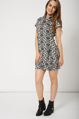 Baroque Pattern Winter Dress With Pockets - First Impression UK