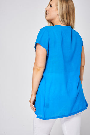 Blue Embroidered Tunic Top, Tops - First Impression UK