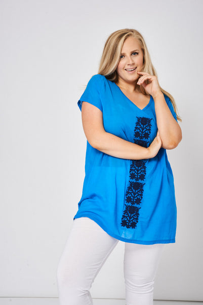 Blue Embroidered Tunic Top - First Impression UK