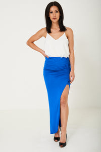 Ladies High Slit Maxi Skirt In Blue