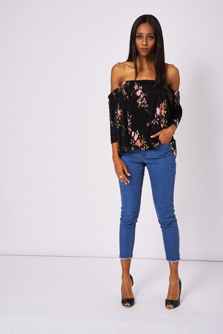 48b4be614a4 Black Pleated Off Shoulder Top With Floral Pattern, Tops - First Impression  UK