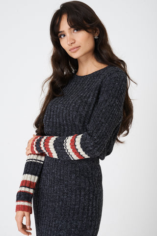 Ladies Mix and Match Grey Jumper in Rib Knit