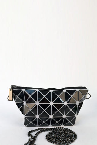 Black & White Glossy Triangular-Split Panels Clutch or Cosmetic Bag - First Impression UK