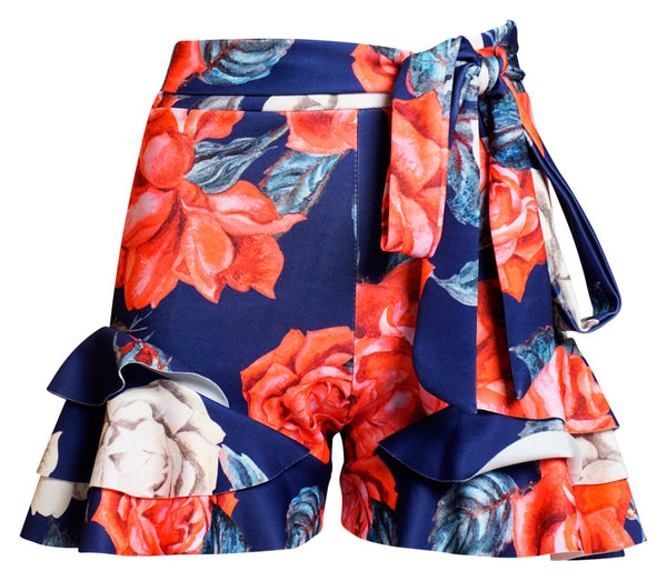ARIEL FLORAL FRILL SHORTS, Shorts - First Impression UK