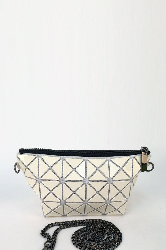 White Glossy Triangular-Split Panels Clutch or Cosmetic Bag
