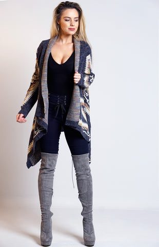 Sandra Navy Knitted Aztec Waterfall Cardigan