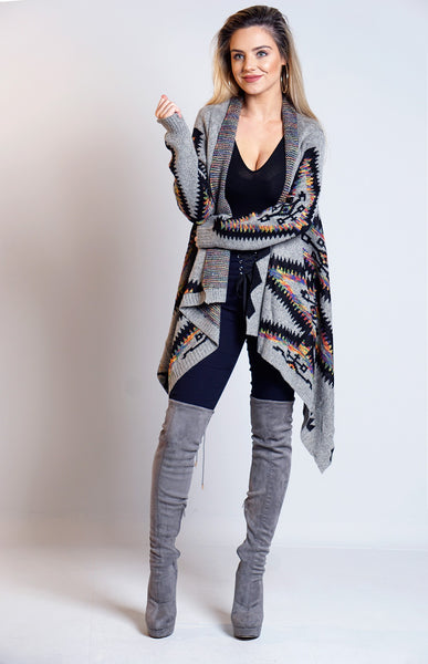 Sandra Light Grey Knitted Aztec Waterfall Cardigan
